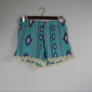 T406 Just Be Aztec print shorts lace trim